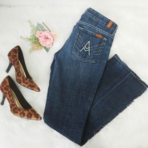 7 FAM A Pocket Wide Flare Leg Dark Wash Jeans 28
